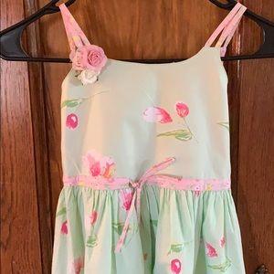 Girls summer cotton dress soft green and pink